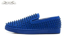 Wholesale Blue Suede Shoes Comfort - MBF999N Size 35-47 Men Women Blue Suede With Spikes Low Top Slip On Fashion Sneakers, Unisex Luxury Brand Comfort Spring Autumn Casual Shoes