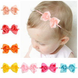 Wholesale Handmade Baby Headbands Bows Accessories - 3Inch Newborn Baby Bow Headbands Girls Nylon Ribbon Hairbands Girls Handmade Mini Headband Children Hair Accessories Kids Headdress KHA262