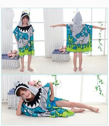 Wholesale Baby Hooded Bath Towels New - New Children Beach Towel Children Hooded Boys Cartoon Baby Girl Bath Towel Absorbent SHARK butterfly skull Dolphin rabbit Mermaid style