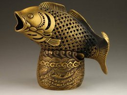 Wholesale Chinese Fish Statue - Elaborate Chinese Brass Fish Head Statue Box Incense Burner   Censer