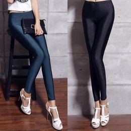 Wholesale Leggings Neon - Wholesale- Women's shiny lycra neon spandex leggings ladies plus size black women leggings high waist stretch skinny shiny spandex leggin