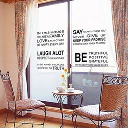 Wholesale Diy Adornment Sticker - allpaper french English Words In This House DIY Wall Stickers Adornment Glass Vinyl Home Wallpaper Decor Pegatinas De Pared For Kids Room...