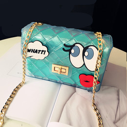 Wholesale Candy Plastic Bag Fashion - Wholesale-Jelly Transparent Bag Handbag Candy Eyes Bags Plastic Women Multicolor Furly Famous Brand PVC crossbody sweet cute bag