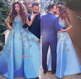 arabische mode für frauen Rabatt 2018 Elegant Sky Blue Frauen Formale Party Abendkleider Spitze Appliques Halbe Lange Hülse Eine Linie Satin Arabisch Dubai Abendkleider