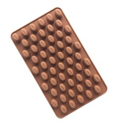 Wholesale mould cavity - New Arrival High Quality Silicone 55 Cavity Mini Coffee Beans Chocolate Sugar Candy Mold Mould Cake Decor 100pcs Free DHL Fedex
