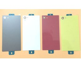 Wholesale Xperia Battery Cover - For Sony Xperia Z5 Compact Mini E5803 E5823 Rear Glass Back Cover Battery Door Housing With Sticker Replacement Part