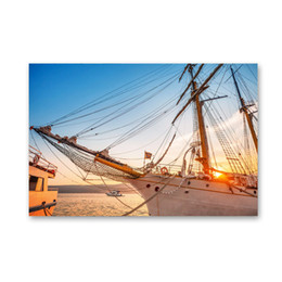 Wholesale Paint Art Work - ARTPIONEER Sailing on the sea Modern Home Wall Decor Art Print canvas HD Photographic works of art from the canvas No frame