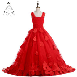 Wholesale Girls Pageant Organza Roses - Red Rose Petal Flower Girl Dresses first Communion Dresses For Girls pageant dresses for girls 2017 Real Picture