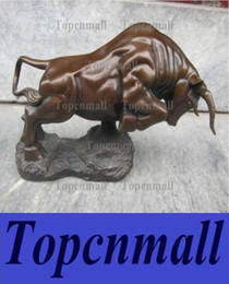 Wholesale Bronze Bull Ox - Chinese Folk Copper Bronze Feng Shui Lucky Wealth Cattle bull Wild ox Statue