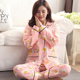 Wholesale Ladies Long Sleepwear - Wholesale- Superior quality Women's cotton nighty sleepwear cute pattern autumn & winter ladies long-sleeve pajamas nightwear nightgown set