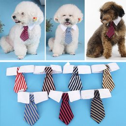 Wholesale Large Dog Bow Tie - Pet Dog Cat Striped Bows Tie Neck Bandanas Baby Print Dog Apparel Clothing Mix Color WX-G13