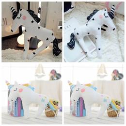 Wholesale Baby Sofa Toys - Cute 3D Unicorn Shape Cushion Throw Pillow 38*30cm Cartoon Sofa Unicorn Horse Plush Toys Baby Sleep Pillow OOA3432