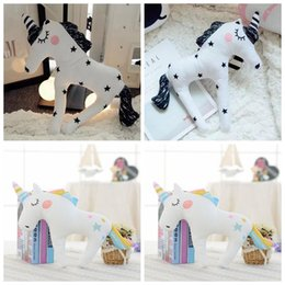 Wholesale Wholesale Plush Horses - Cute 3D Unicorn Shape Cushion Throw Pillow 38*30cm Cartoon Sofa Unicorn Horse Plush Toys Baby Sleep Pillow OOA3432