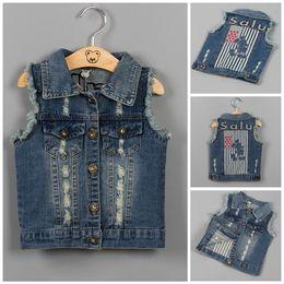 Wholesale Baby Cowboy Vest - Baby Clothes Boys Girls Waistcoat Children Cowboy Denim Vest Wastooat 2017 Cute Letter Cartoon Hole Button Weskit Kids Clothing XY261