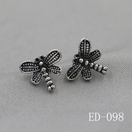 Wholesale Thai Gifts Wholesale - High Quality 925 Silver Plated dragonfly Shape stud Earrings for Women Girls Gift Ladies Retro Style Stud Thai silver Jewelry