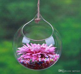 Wholesale Glass Ball Flower Decorations - 10Pcs Flowers Ball hangin glass planter vase air plants terrarium hanging glass vases for home decoration green plants wedding gifts 2017