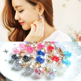 Wholesale Diamond Ball Plug - double side earring stud glass diamond ring plug hot sale jewelry Transparent glass ball shape eariring fashion crystal star bubble zircon