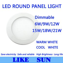 Wholesale Off Grid Light - Wholesale- Ultra Bright Ultra thin Dimmable 6W 9W 12W 15W  18W 21W LED Ceiling Recessed Grid Downlight   Slim Round Panel Light