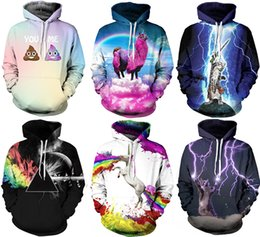 Wholesale Black Hat Fashion - 2017 Christmas Santa NWT Autumn Winter 3D Animal Print Fashion Sport Women Hoodies Coat With Hat Pocket Digital Print Hooded Pullovers S~2XL