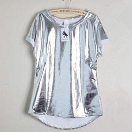 Wholesale Womens Sexy T Shirts - Wholesale- 16 summer new brand women t-shirt sexy short-sleeved bright silver top shirt wild casual loose womens party club tops blusas C25