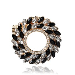 Wholesale Silver Plated Clear Rhinestone Brooches - Wholesale- Pretty Fashion Clear Black White Crystal Rhinestone Gold Silver Plated Brooch Pins for Women Brooches for Scarf Jewelry 3678
