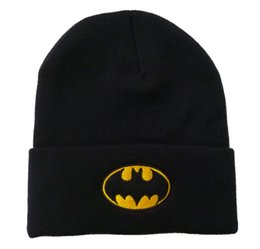 Wholesale Dc Comics Hats Batman - Black Yellow Batman Beanie Hats Sale Fashion Warn Winter Dc Comics Cartoon Beanies Embroidery Knitted Hat Men Women Skull Caps Knit Cap