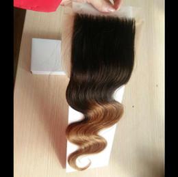 Wholesale Ombre Silk Base Closure - t1b 4 30 ombre silk base lace closure body wave colored brazilian hair brazilian remy human hair 4x4 lace closure
