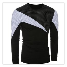 Wholesale Polka Dot Shirts For Men - T-shirts for Men Fashion Spring Mens Casual Sports Dot Stitching O-neck Long Sleeves Gym T-shirts Size:XS-L