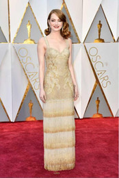 Wholesale Emma Stone - 2017 Emma Stone Oscar the Best Actress Celebrity Dresses Gorgeous Gold Evening Dresses Floor Length Red Carpet Prom Party Gowns