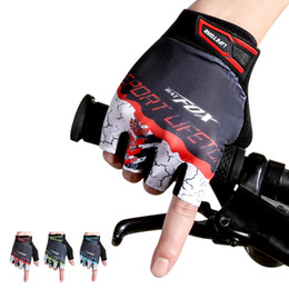 Wholesale mtb gloves - Unisex MTB Cycling Gloves Hiking Shockproof Half Finger Sports Bicycle Glove Bike Anti-Sweat 3Color