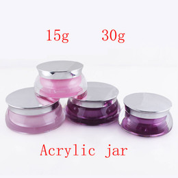 Wholesale Jars Pink Color - 30g X 12 empty skin care cream acrylic container 15ml scallop shape acrylic cosmetic jars ,pink purple color cosmetic jar pot