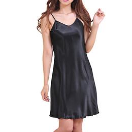 Wholesale Sexy Nightshirts - Wholesale- 2017 Sexy Women's Nightshirts Satin Chemises Slip Sleepwear Size S-3XL short dress