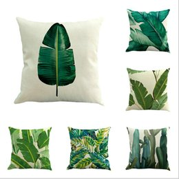 Wholesale Plant Dye - Style Pillow Case Africa Tropical Plant Printed Cushion Cover Green Leaves Linen Pillowcases Soft Chair Car Sofa Throw Pillow Cover Home