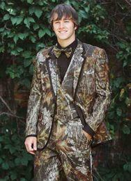 2019 pieza de esmoquin parte trasera 2018 Realtree Camo boda esmoquin Campesino boda traje personalizado por encargo Slim Fit hombres Blazers moda novio desgaste (chaqueta + pantalón)