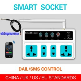 Wholesale Temperature Controller Wireless - With temperature sensor 4 Outlets Remote Control GSM PDA RC Wireless Smart Switch Power Plug socket module controller SC3-GSM Ann