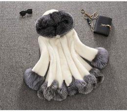 Wholesale Imitation Fur Jackets - Luxury Women Faux Fur Hooded Coat Fashion Winter Ladies Imitation Mink Outerwear Jacket warm clothing white black