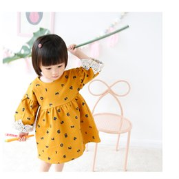 Wholesale Euro Dress - 2017 NEW Ins Euro Fashion Girl Dress round collar long sleeve with lace Full number print dress 100% cotton girl dress elegant simple style