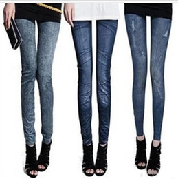 Wholesale Cheap Printed Leggings - 30pc Women Pants Sexy Leggings Free Style Women's Printed Leggings Jeans Cheap Ripped Denim Spandex Graffiti Fitness Legging TR08