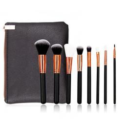 Wholesale Synthetic Blend - ZOV 8Pcs Makeup Brushes kits Professional blending Eyeline Eyeshadow Brush Set Foundation Powder Beauty Cosmetic Tools + bag