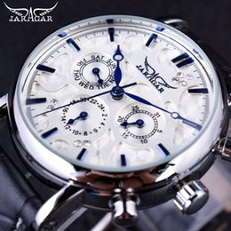 Wholesale Jaragar Automatic Watch Brands - Jaragar Blue Sky Series Elegant Design Genuine Leather Strap Male Wrist Watch Mens Watches Top Brand Luxury Clock Men Automatic Drop Shippin