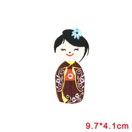 Wholesale Sewing Trims Doll - New Japanese kimono Kokeshi Doll Japan Vintage Cute Girl Applique Iron on Patch