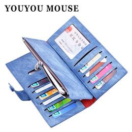 Wholesale Blue Denim Purse Bag - YOUYOU MOUSE Fashion Long PU Leather Women Wallets Denim Pattern Phone Bag Purse Lady Clutch 3 Fold Zip Card Holder Money Wallet