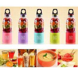 Wholesale Automatic Juicers - 500ML Personal Blender With Travel Cup Bingo Bottle Cup Mini Juicer Blender Coffee Shaker USB Automatic Vegetable Fruit Blender Cup HH-C40