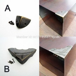 Wholesale Furniture Chests - Wholesale- 12X Brand New Decorative Antique Brass Jewelry Chest Wine Box Wooden Case Iron Metal Furniture Corner Protector Guard Screw Nail