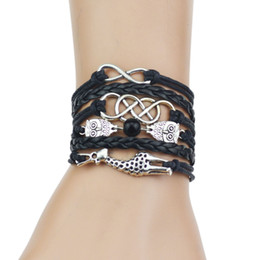 Wholesale multi color leather bracelets - Multi-Strands Infinity Silver Color Owl & Giraffe Charm Leather Braid Bracelet Bangle Jewelry For Women and Men