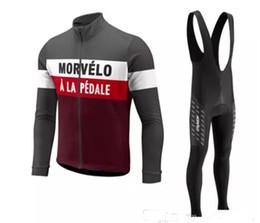 Wholesale Gel Pants - Men Morvelo Cycling jersey sets Spring Autumn long sleeve Pro bicycle bike jersey bib long pants gel pad