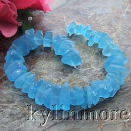 """Wholesale Aquamarine Glass Beads - 11mm-22mm Blue green Aquamarine Blue Multi Color Glass Rough Frosted Nugget Loose Beads 15"""" Strand"""