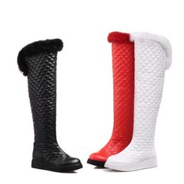 Wholesale Narrow Boots - Wholesale-2015 Europe Style Genuine Leather Plaid Snow Boots Women Rabbit Fur Warm Winter Boots Fashion Flats Lady Knight Boots Plus zize