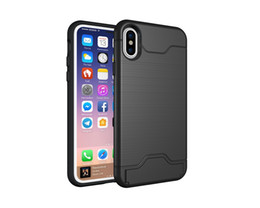 Wholesale Pc Card Cover Black - ID Cards Slot Holder Stand Hybrid Shockproof TPU PC Case For IPhone X 8 7plus I6 S Shockproof Brush Colorful Cell Phone Skin Cover 50pcs