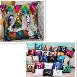 Wholesale Magic Plains - Mermaid Pillow Insert Sparkling Flip Sequin Pillow Magic Reversible 2 Color Changing Decorative Room Sofa Car-styling Decor CASE40*40cm